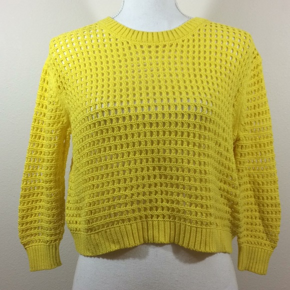 06a7725a904769 Forever 21 Sweaters - Forever 21 Yellow Knit Cropped Sweater Women s S